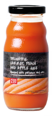 Blended carrot, peach and apple juice