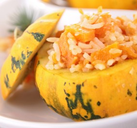 stuffed pumpkin and risotto