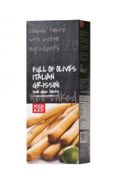 Paluszki grissini zzielonymi oliwkami ioliwą zoliwek extra vergine
